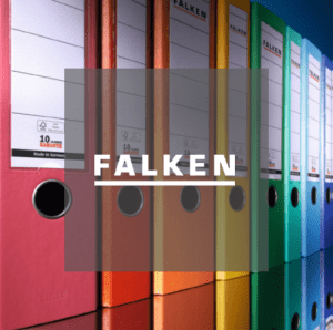 FALKEN logo in front of lever arch file selection