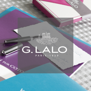 G.Lalo Logo in front of correspondence products