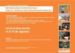 Posgrado: Metodologías Participativas para el Trabajo con Comunidades Rurales