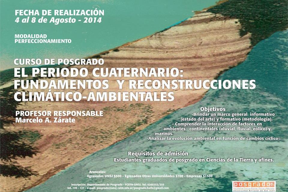 Curso de Posgrado: El período cuaternario: fundamentos  y reconstrucciones climático-ambientales