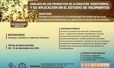 Curso de Posgrado: Análisis de los productos de alteración hidrotermal y su aplicación en el estudio de yacimientos