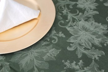 Green table cloth and gold charger
