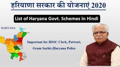 Photo of List of Haryana Govt Schemes 2020 (हरियाणा सरकार की योजनाएं 2020)