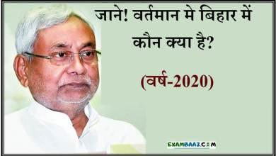 Photo of जाने! 2020 मे बिहार में कौन क्या है? || Bihar Current Affairs 2020
