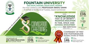 FUO 8th Convocation Ceremony Programme of Events