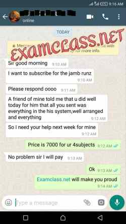 Jamb examclass whatsapp chat proof 17