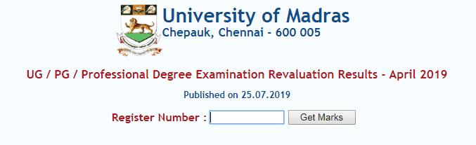 Madras University Revaluation Result 2019 Released UNOM UG PG
