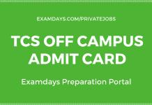 tcs off campus admit card