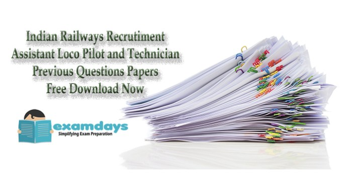 Download Complete Previous Papers RRB 2018 Assistant Loco Pilot ALP