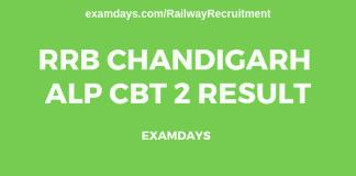rrb chandigarh alp cbt 2 result
