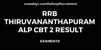 rrb thiruvananthapuram alp cbt 2 result