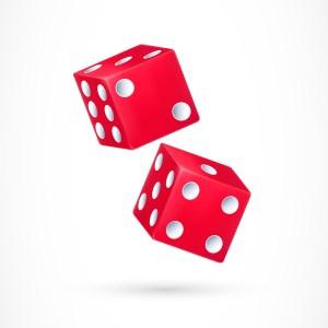 Illustration de deux dés rouges avec des points blancs. Casino, jeux de hasard, fortune. Observer un dé permet de déterminer plus