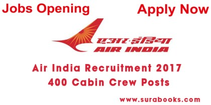 Air India Recruitment 2017 400 Cabin Crew Posts