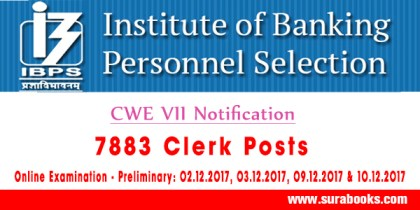 IBPS Clerk CWE VII Recruitment 2017 7883 Clerk Posts
