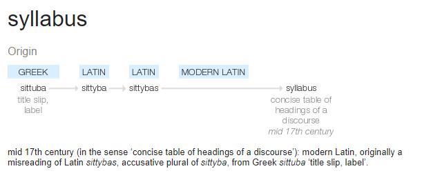 syllabus origin