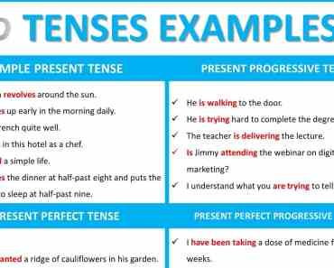 tenses examples sentences