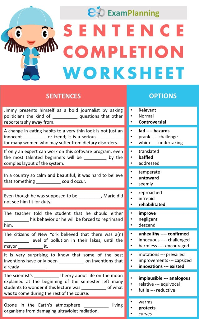 Sentence Completion Worksheets