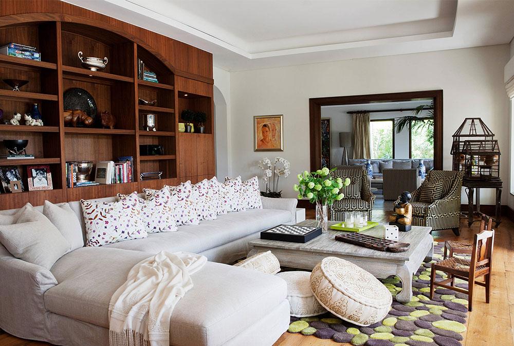 Colourful floor cushions room decoration