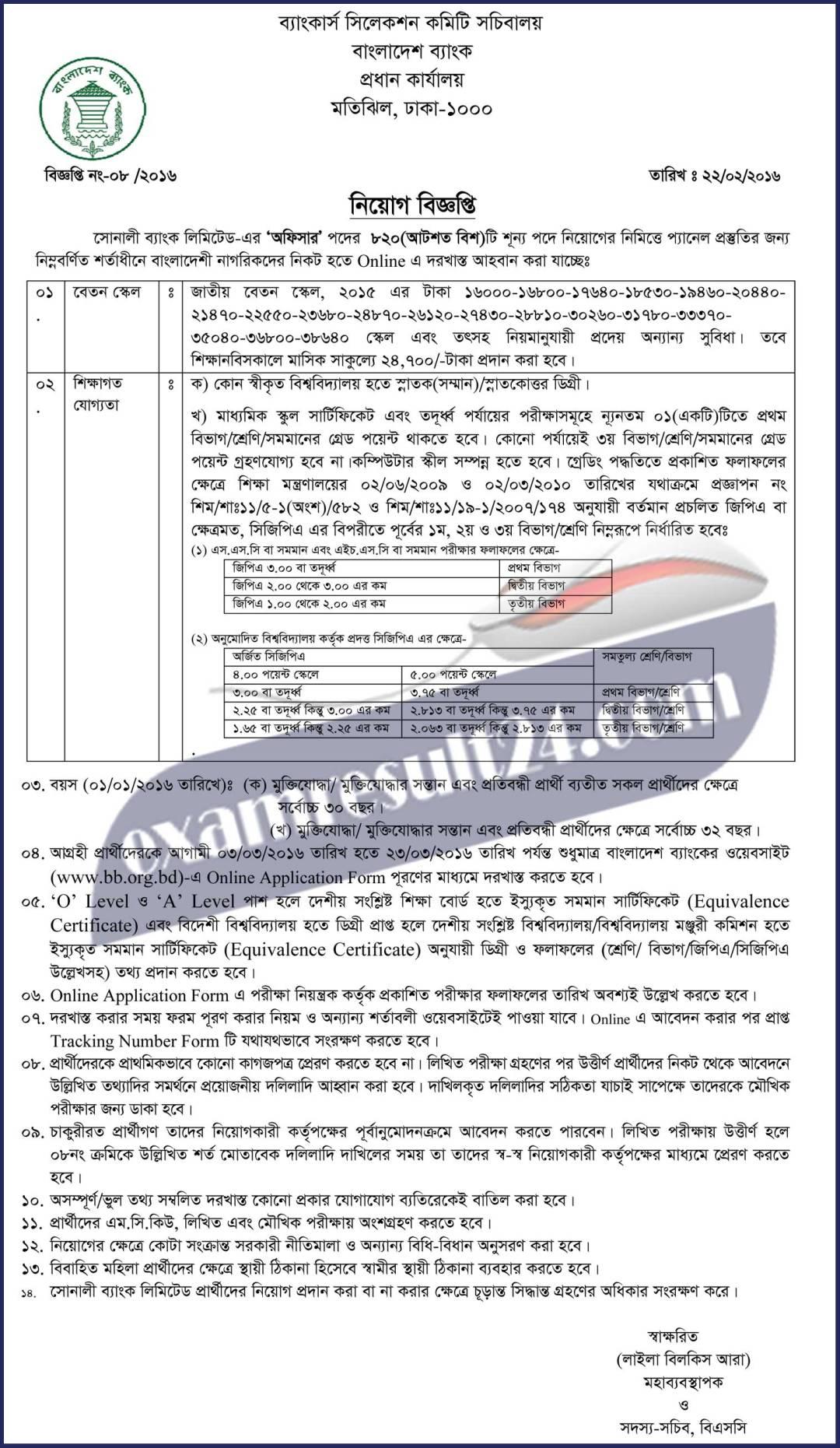 Sonali Bank Limited Officer Job Circular