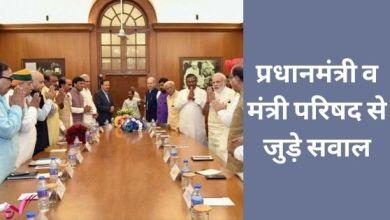 Photo of प्रधानमंत्री व मंत्री परिषद से जुड़े सवाल
