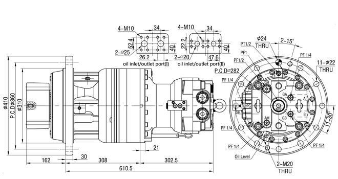 Volvo EC210B Excavator Kawasaki M2X120B Hydraulic Slewing