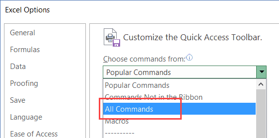 Customize toolbar of Excel