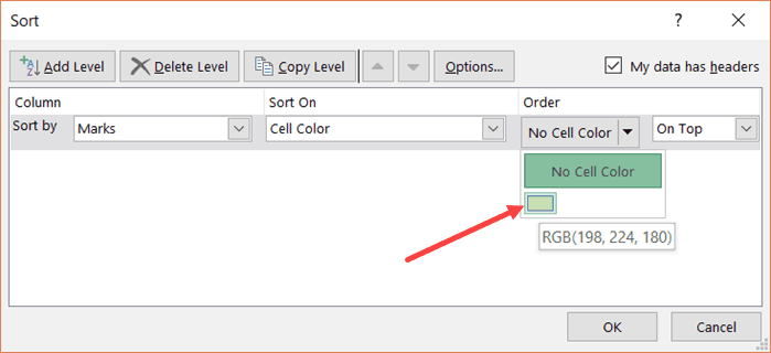 select cell color
