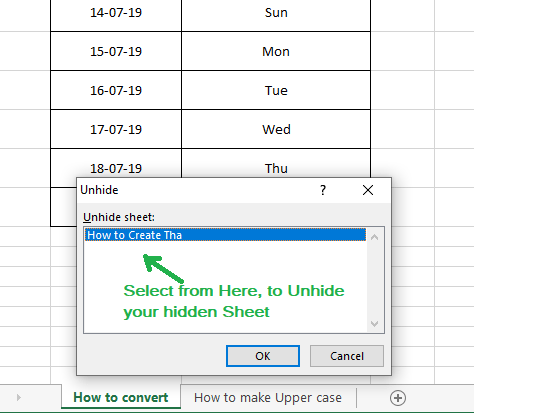 select sheet to unhide your excel sheet