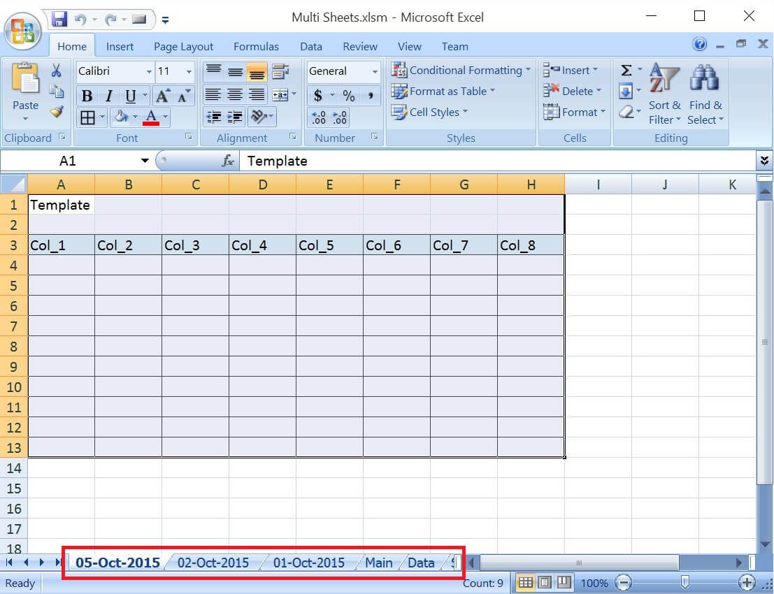 Vba Excel Add Worksheets For All The Given Dates Except Weekends And Copy The Common Template