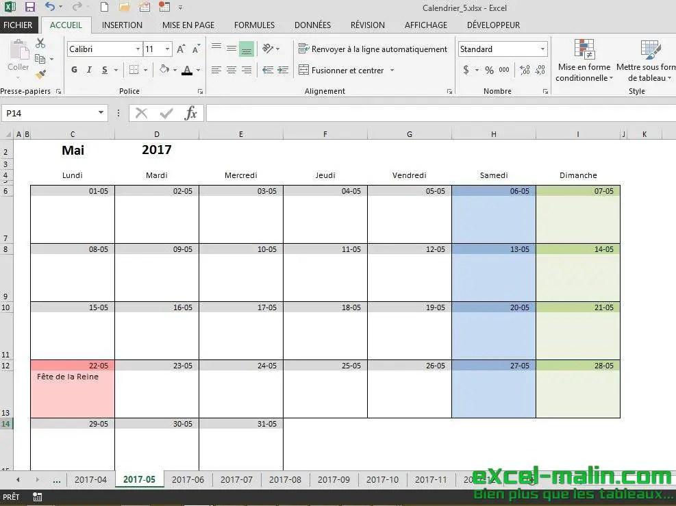 Calendrier Mensuel Excel Modifiable Et Gratuit Excel Malincom