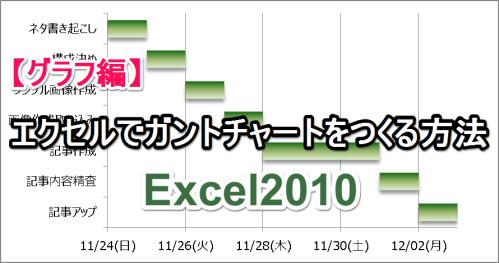 【グラフ編】エクセルでガントチャートをつくる方法(Excel2010)