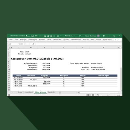 Excel Produkt Kassenbuch kostenlos