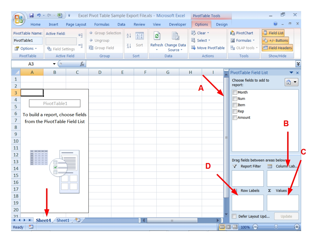 Pivot Table And Pivot Chart Tutorial Step 4