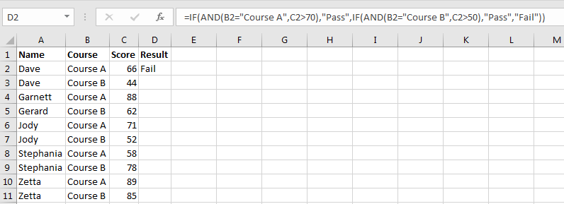 IF AND OR Functions 2