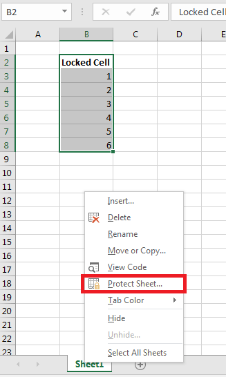 Locking and Unlocking cells in Excel 8