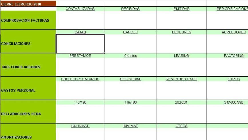 Plantilla Excel cierre contable