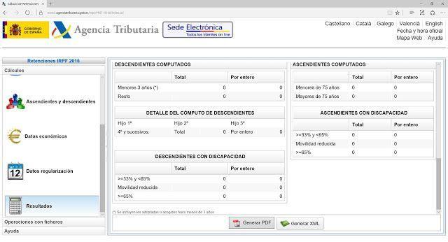 Cálculo online retenciones trabajo