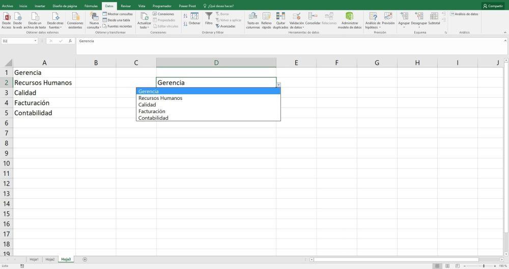lista desplegable en Excel
