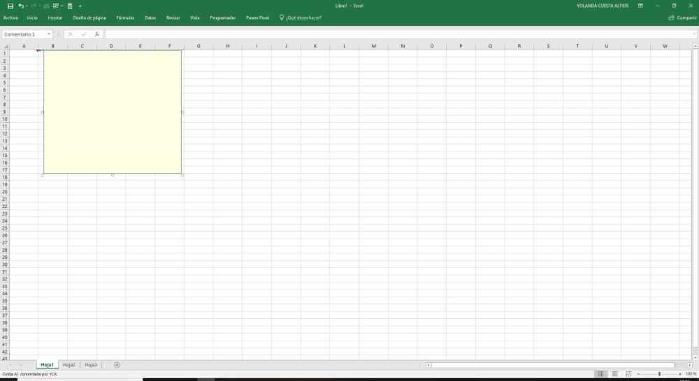 Inserta comentarios Excel