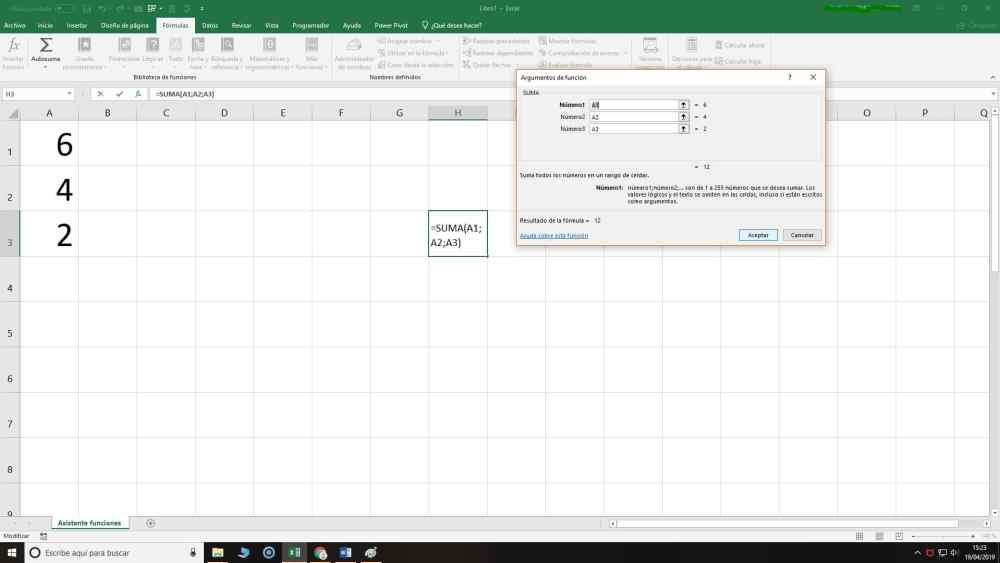 Asistente de funciones de Excel