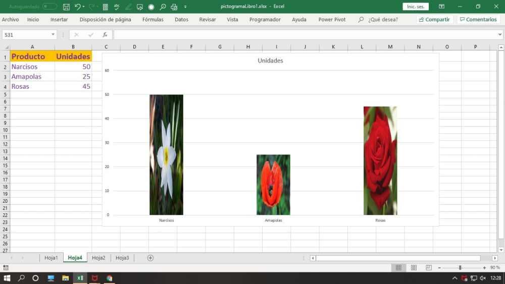 Pictograma hoja Excel