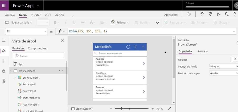 Pantalla power apps Microsoft