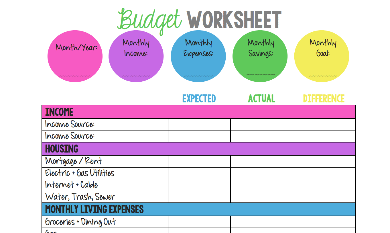 Budget Planner Worksheet Workshee Budget Planner Worksheet