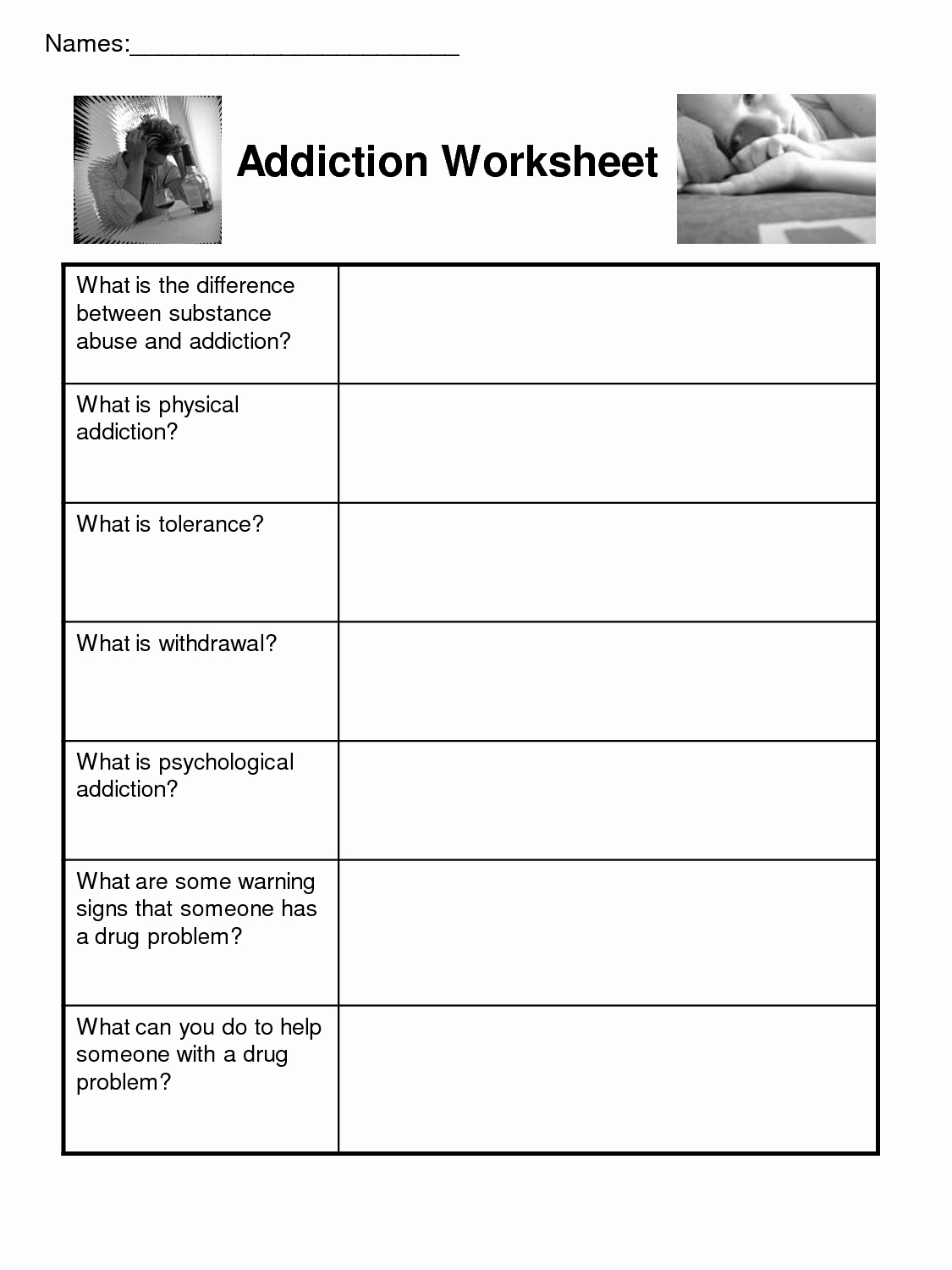Addiction And Recovery Worksheets