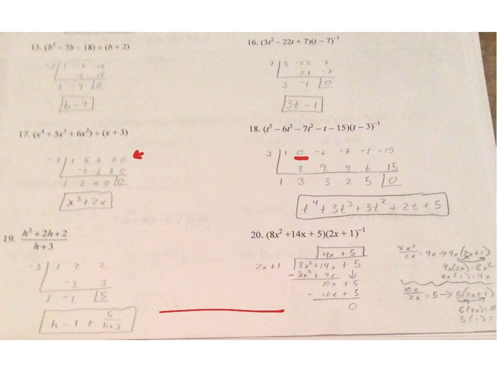 Worksheet Long Division Polynomials