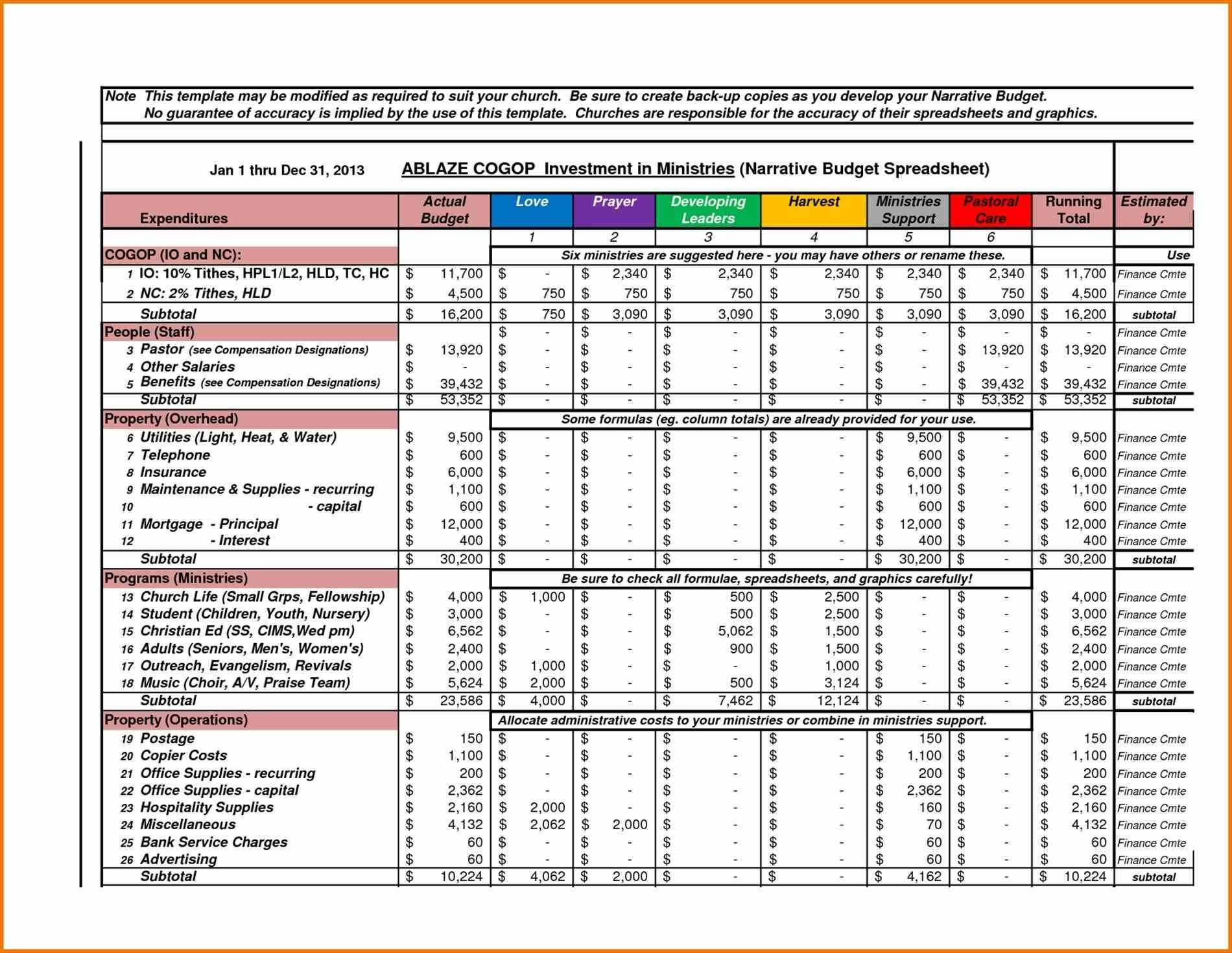 Excel Financial Worksheet Template
