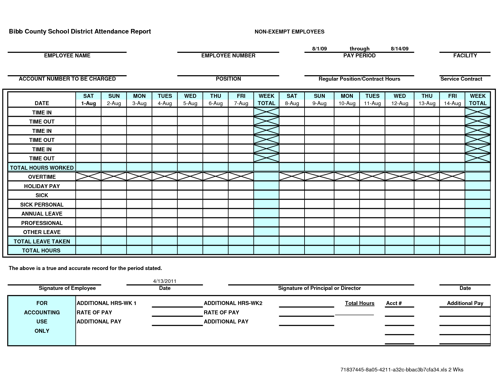 Excel Weekly Timesheet Template With Formulas