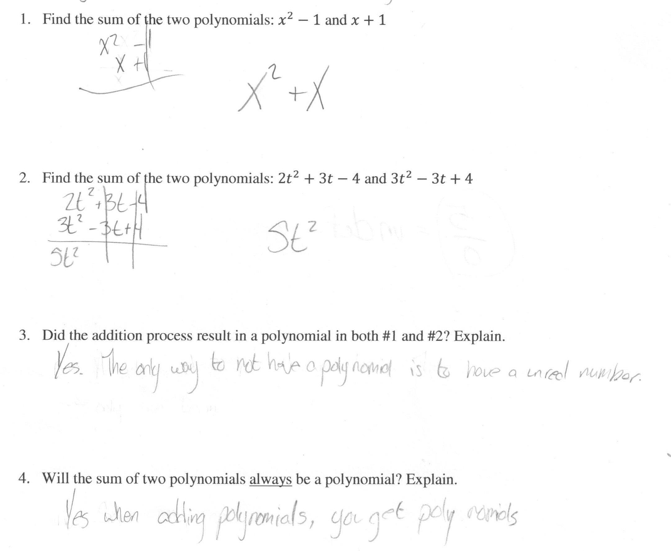 Adding Polynomials Worksheet
