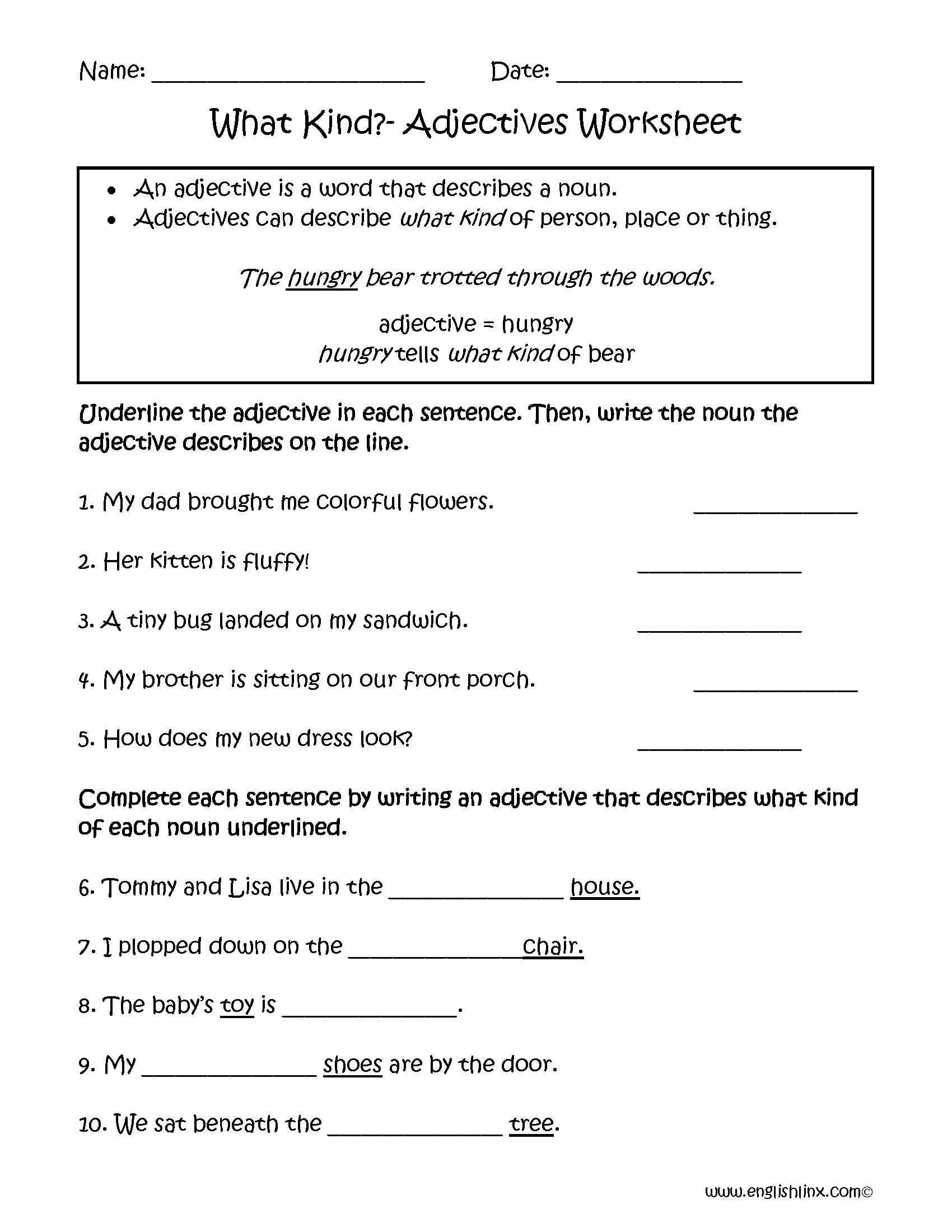 Adjectives Worksheets For Grade 4