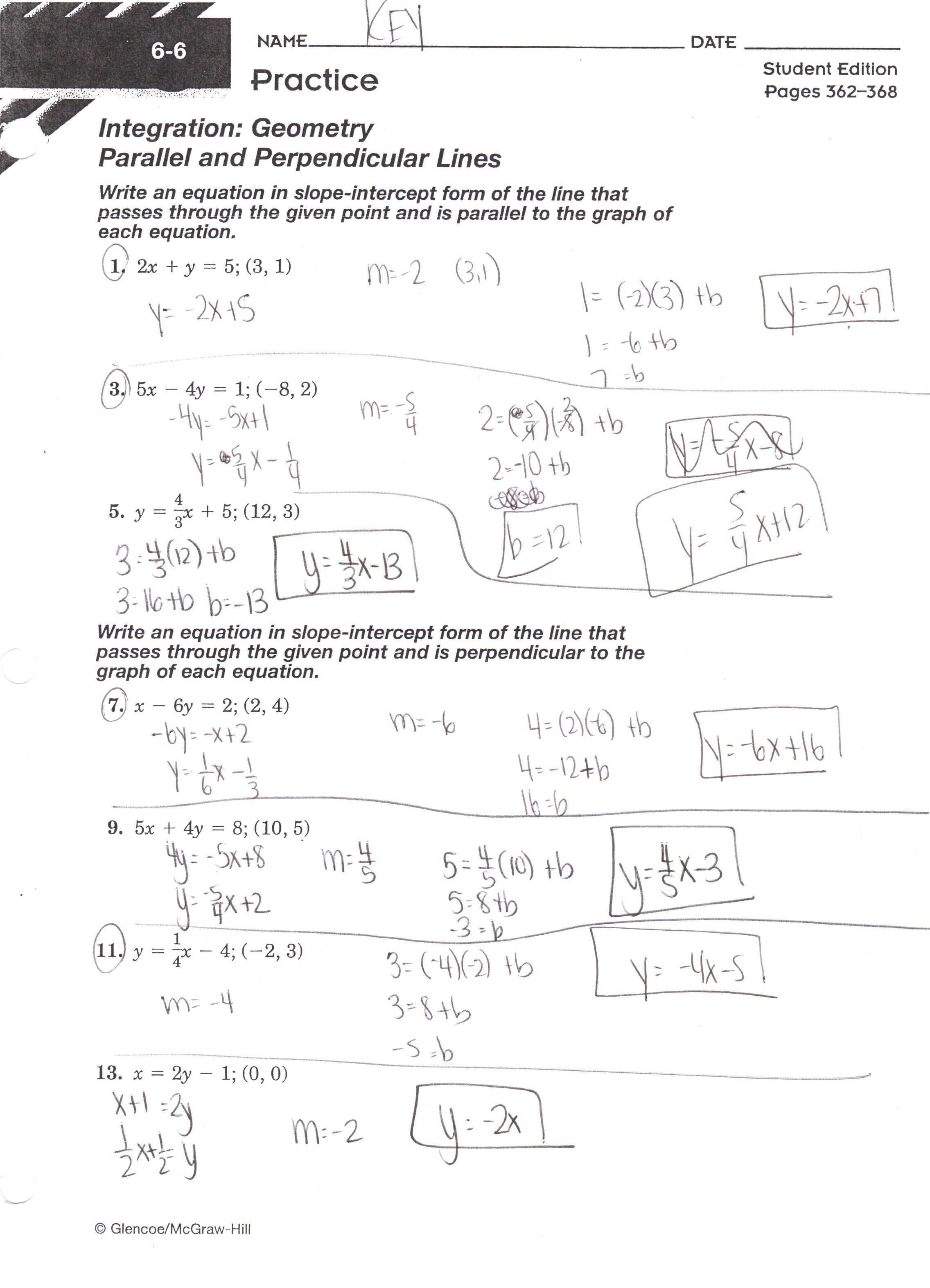 Equations Of Lines Worksheet Answer Key